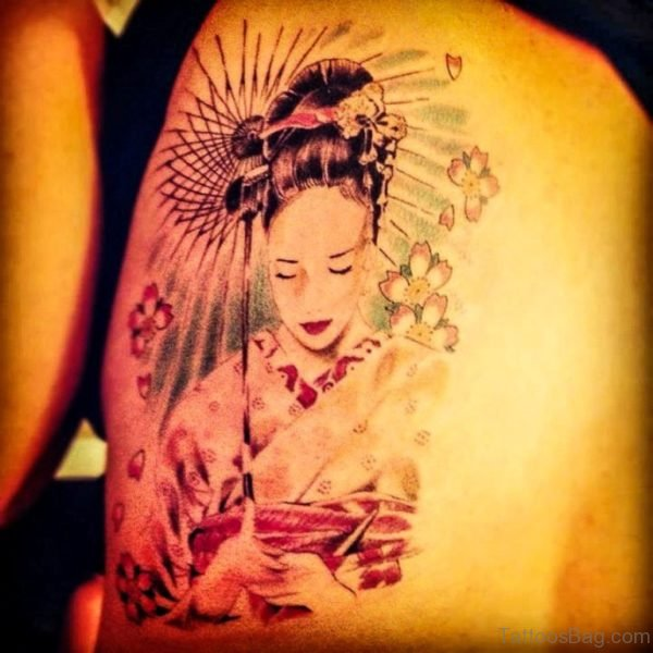 Geisha Tattoo On Shoulder Picture