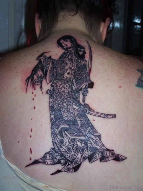 Geisha Tattoo On Upper Back