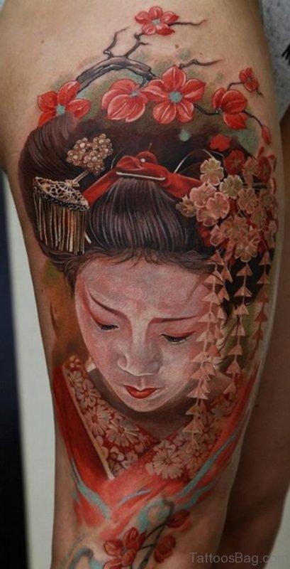 Geisha Tattoo With Japniese Flower