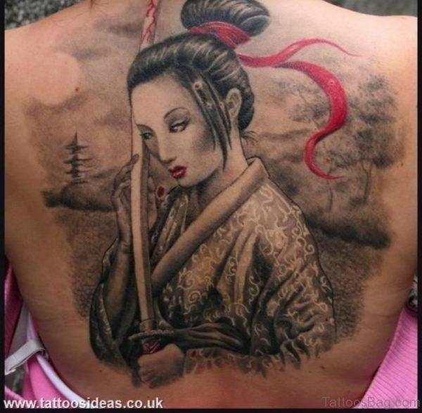 Geisha Warrior Full Back Tattoo