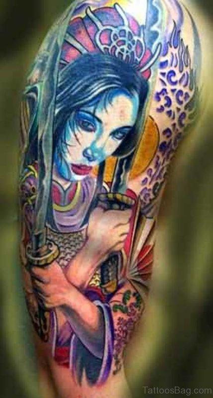 Geisha Warrior Tattoo Design On Shoulder