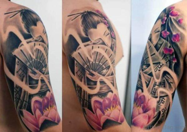 Geisha With Fan Tattoo Design On Shoulder