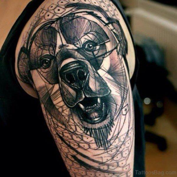 Geometric Bear Tattoo On Left Shoulder