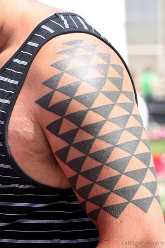 Geometric Black Shoulder Tattoo Design