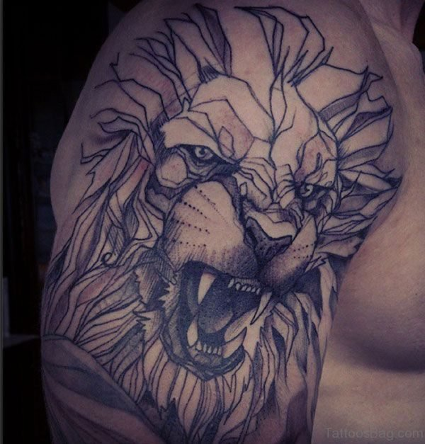 Geometric Lion Shoulder Tattoo