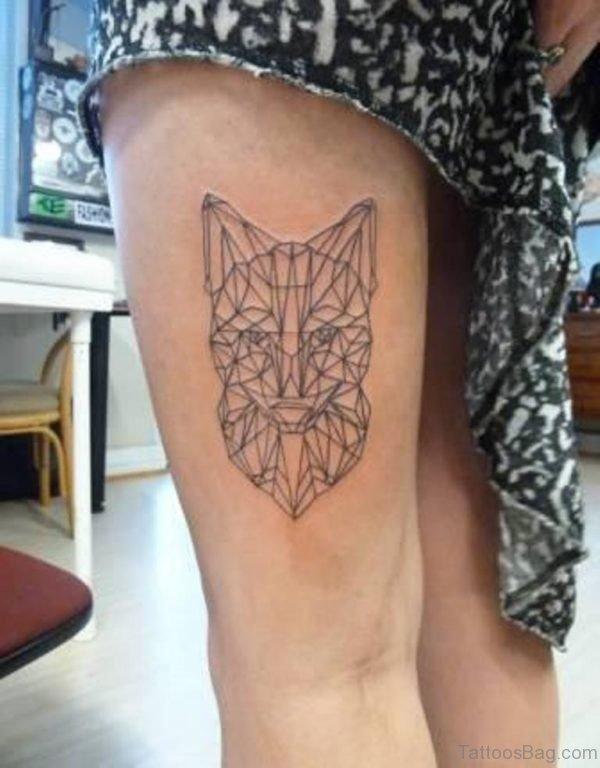 Geometric Animal Head Tattoo On Thigh