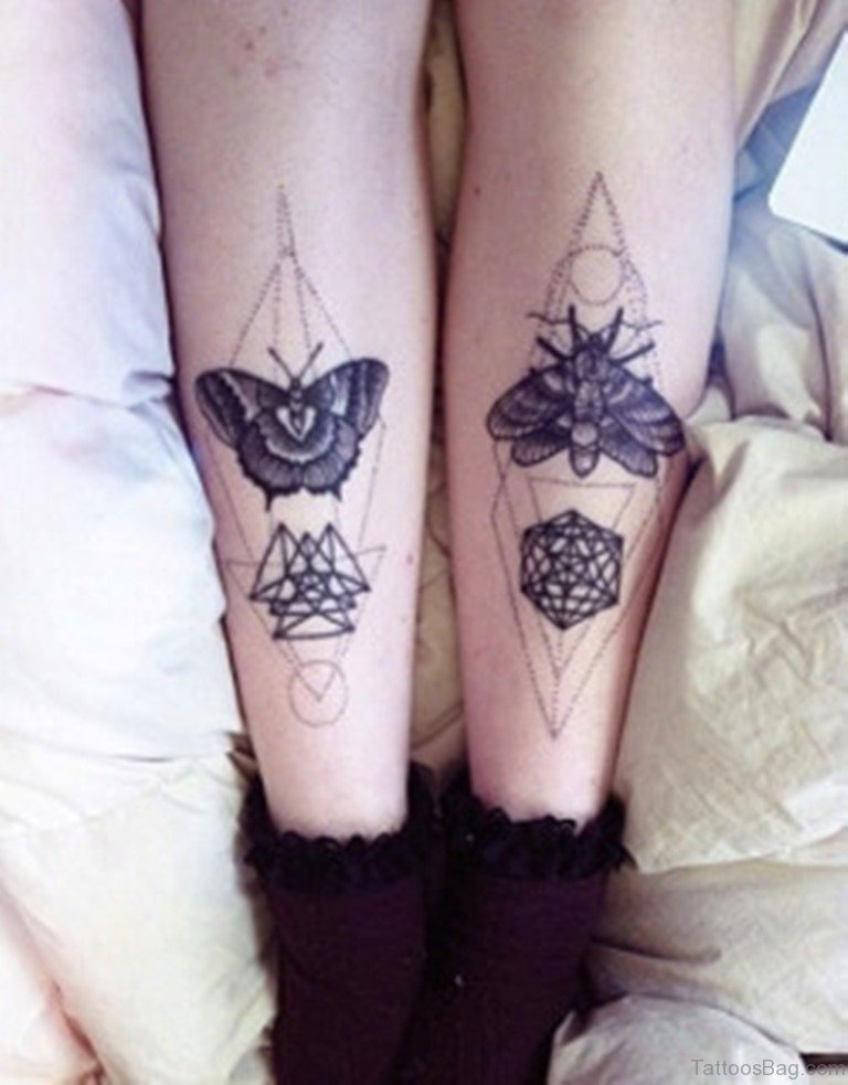 50 brilliant geometric tattoos on leg - Tatouage de papillon ...