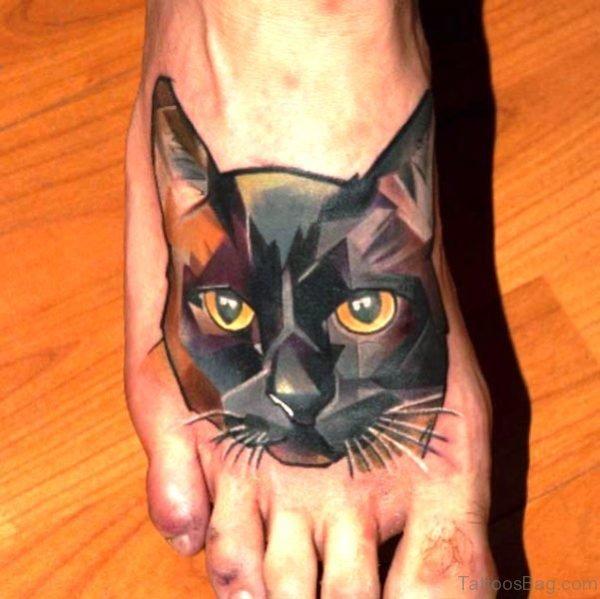 Geometric Cat Tattoo On Foot meow834