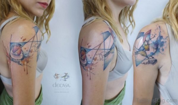 Geometric Colored Shoulder Tattoo