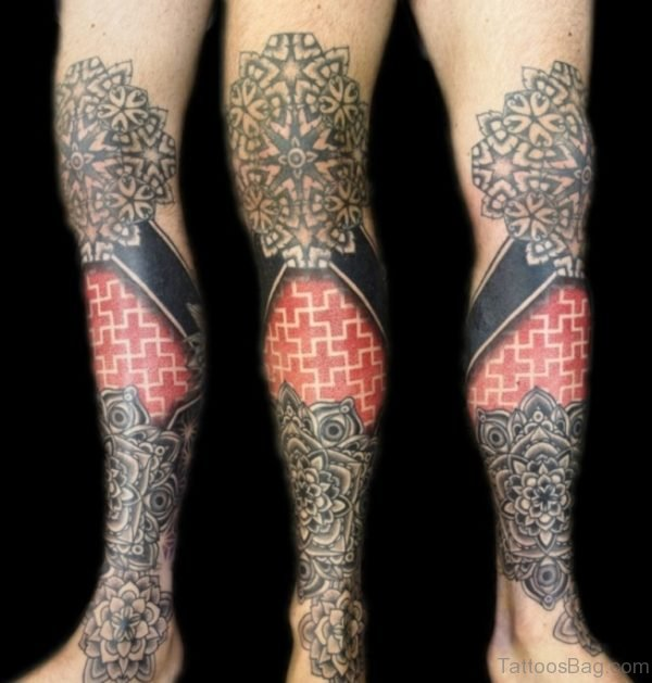 Geometric Mandala Tattoos On Leg