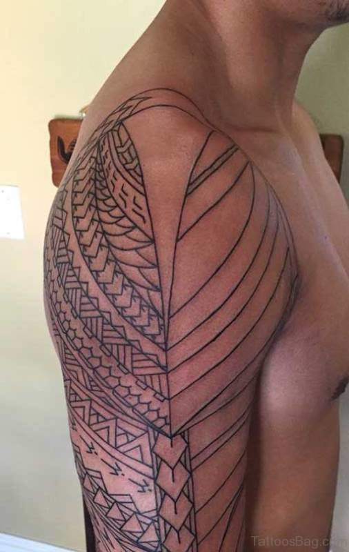 Geometric Polynesian Shoulder Tattoo