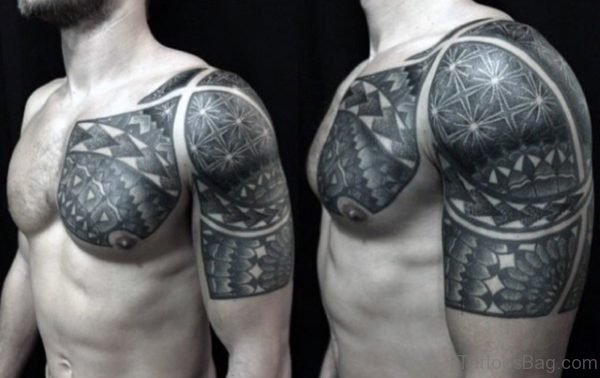 Geometric Tattoo On Left Shoulder