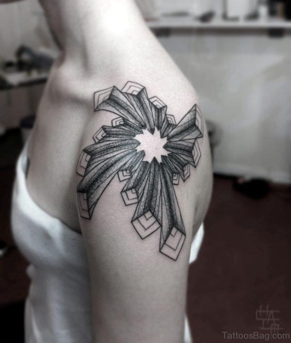 Geometric Tattoo On Left Shoulder