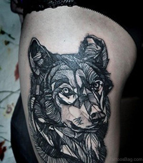 Geometric Wolf Tattoo On Thigh