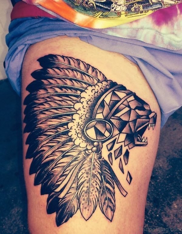 Geometric Wolf Tattoo On Thigh Image