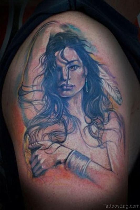 Girl Tattoo On Shoulder