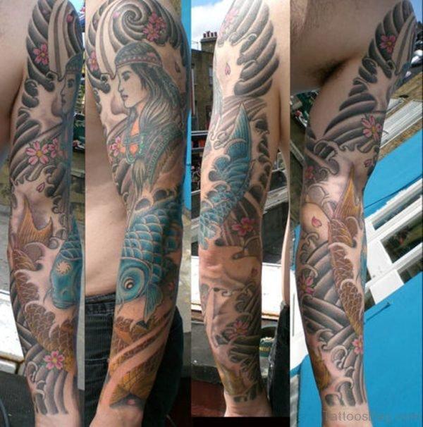 Girl And Fish Tattoo