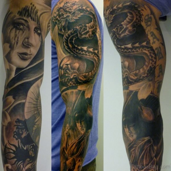 Girl Face And Dargon Tattoo