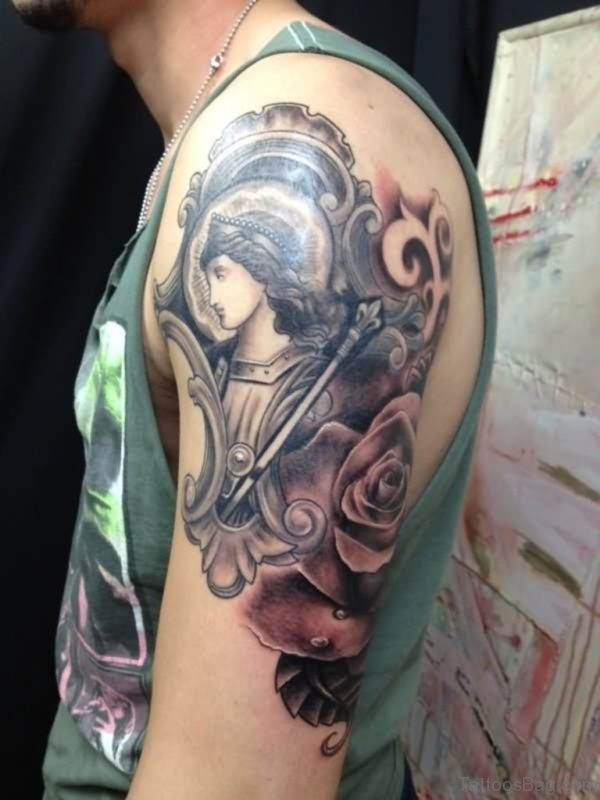 Girl Face And Rose Tattoo
