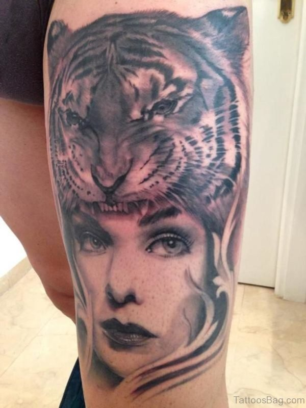 Girl Face And Tiger Tattoo