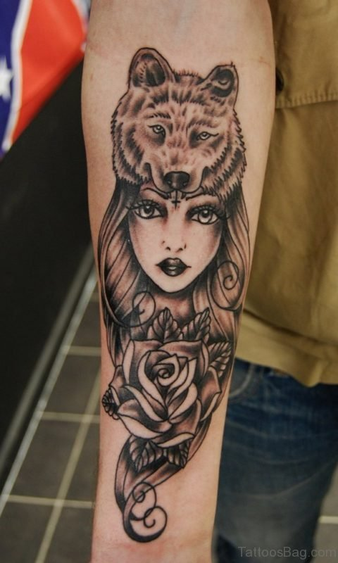 Girl Face And Wolf Tattoo