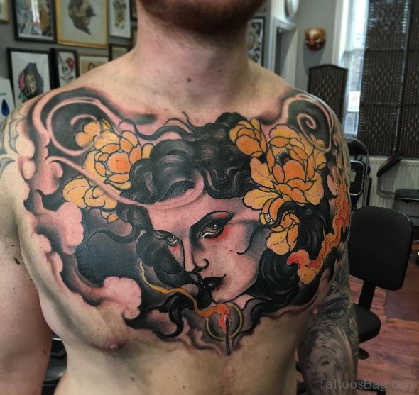 75 pretty flowers tattoos on chest girl face and yellow flowers tattoo on chest mightylinksfo