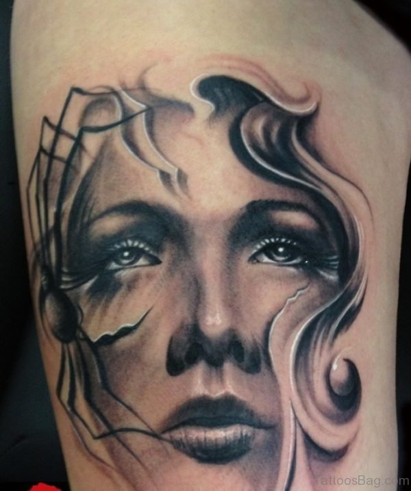 Girl Face Portrait Tattoo