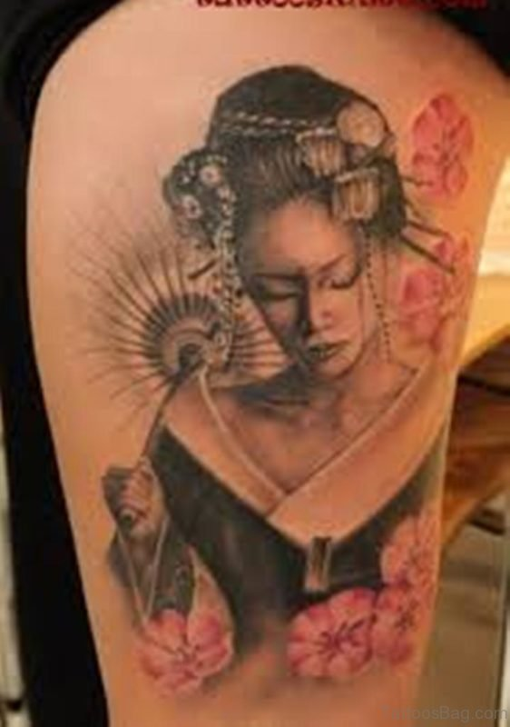 Girl Geisha Tattoos On Thigh
