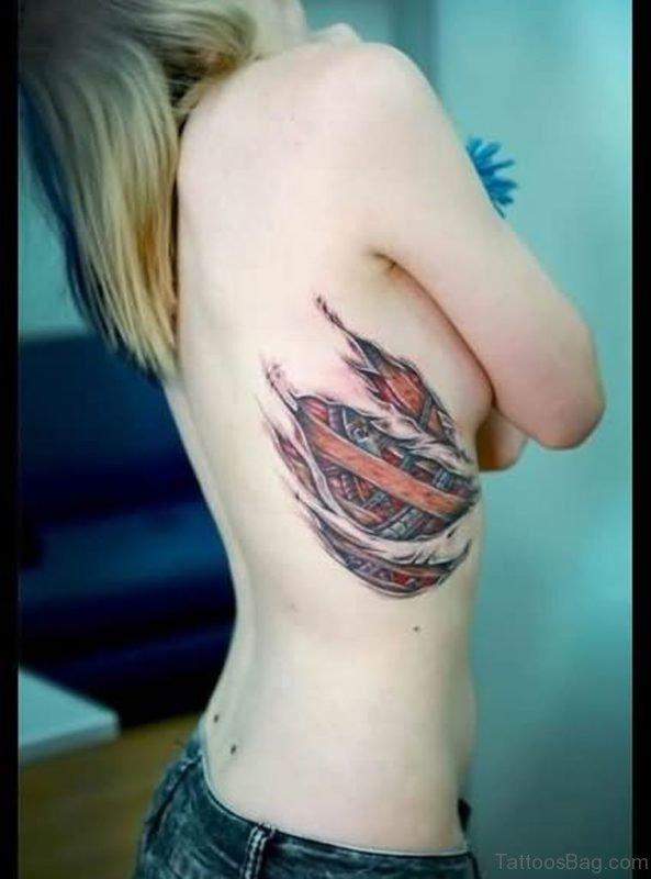 Girl Have Rib 3D Biomechanical Rip Skin Tattoo