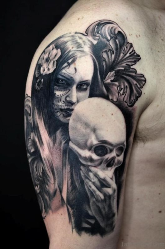 Girl Mask Portrait Tattoo On Shoulder