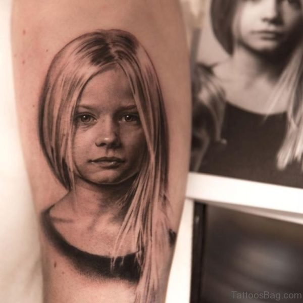 Girl Portrait Tattoo On Arm