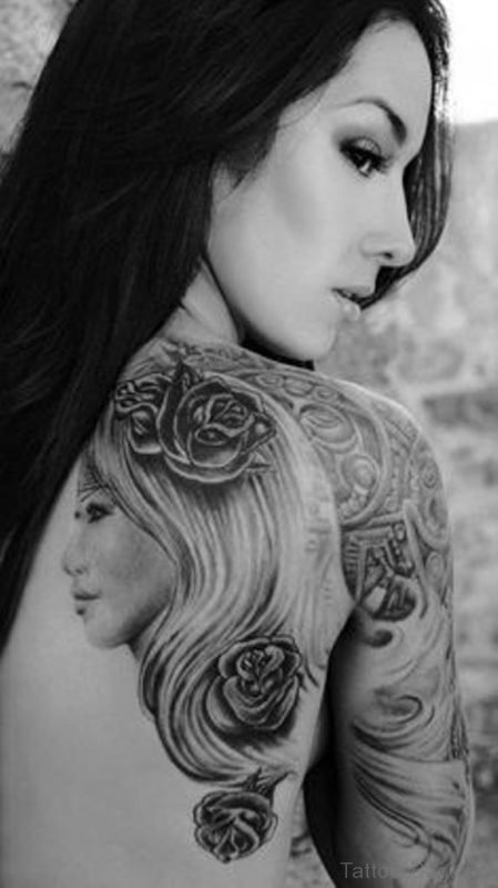 Girl Portrait Tattoo On Back