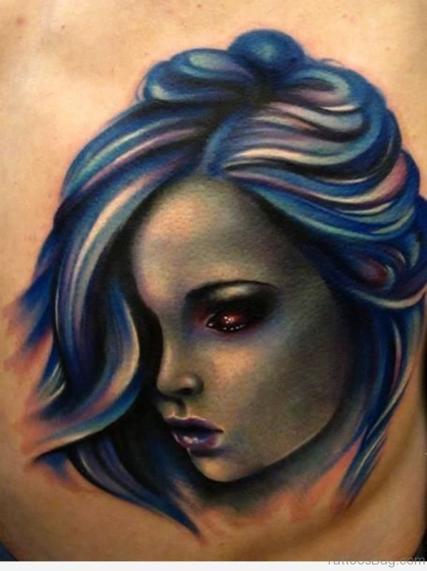 Girl Portrait Tattoo On Left Side Rib