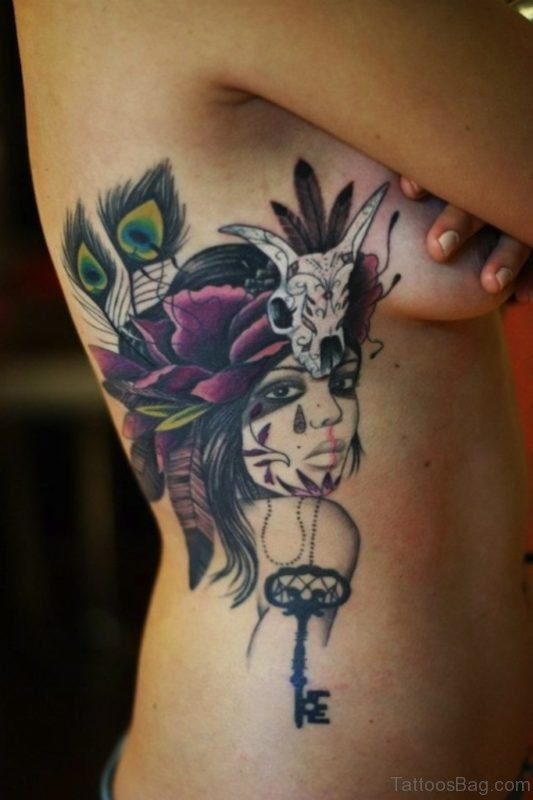 Girl Portrait Tattoo On Rib Image