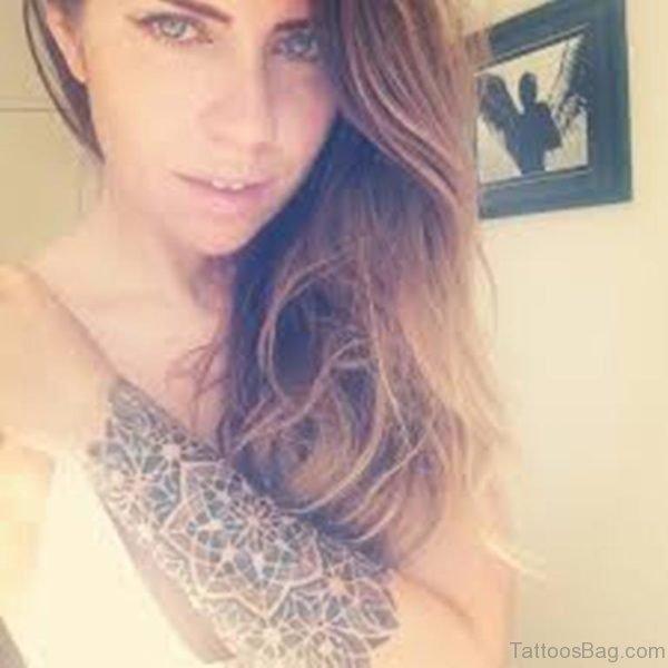 Girl Showing Her Mandala Tattoo