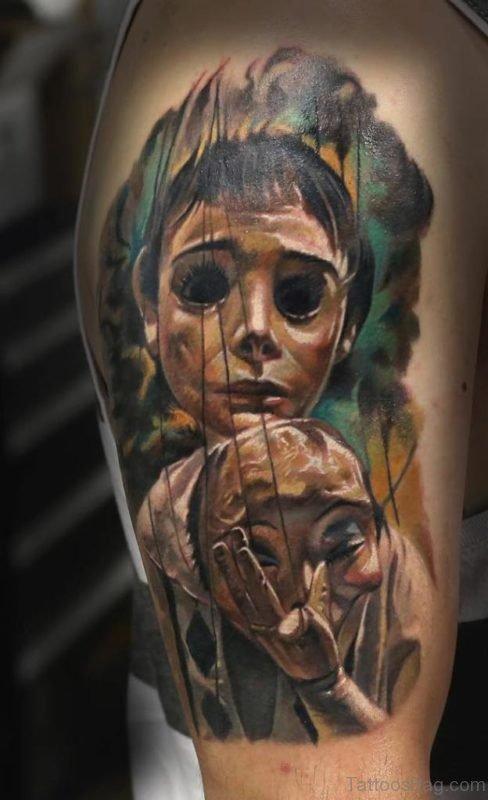Girl in Mask Tattoo
