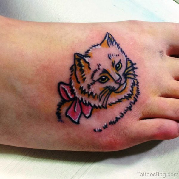 Girly Cat Tattoo On Foot meow835