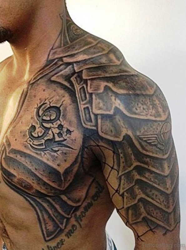 60 Fantastic Armour Tattoo On Shoulder