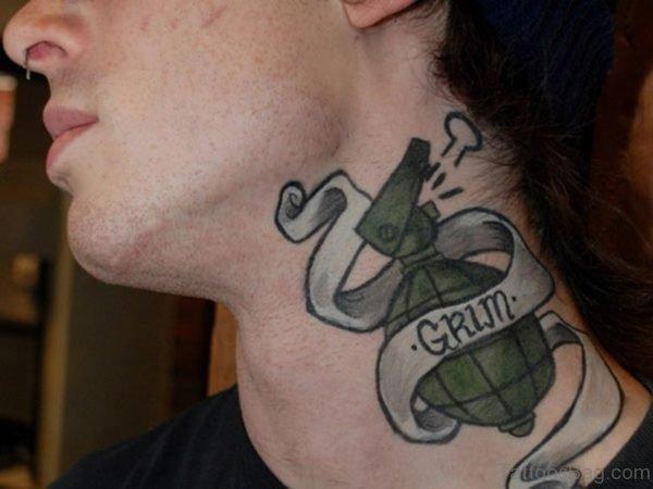Globe Tattoo On Neck