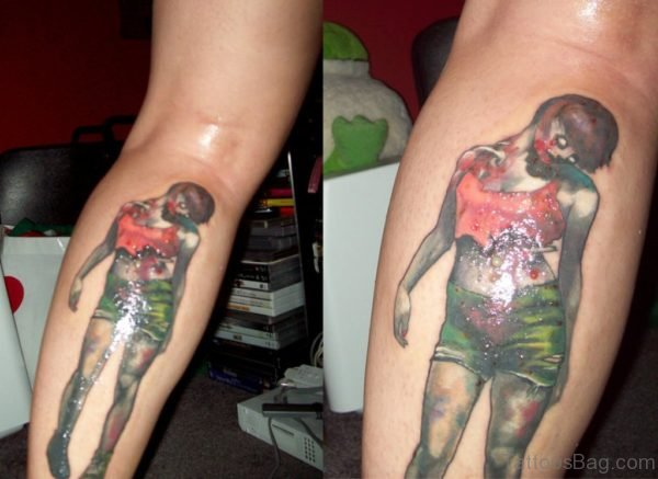 Glowing Zombie In Sexy Dress Tattoo On Leg