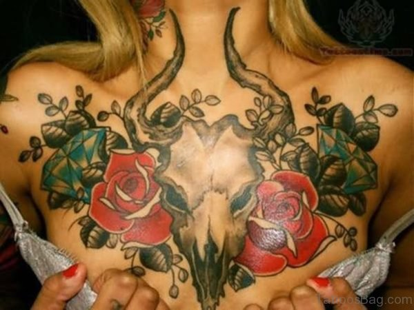Goat And Rose Tattoo