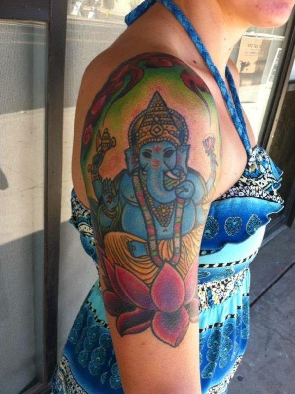 God Ganesha Tattoo On Shoulder