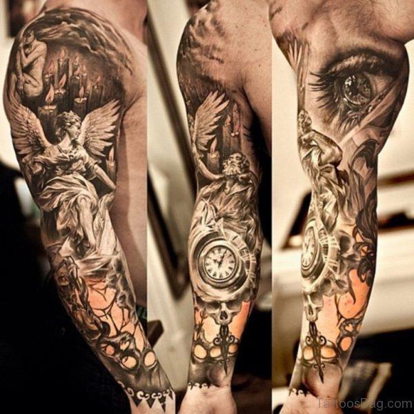 God Tattoo On Full Sleeve