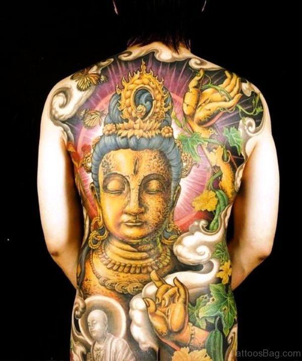 Golden Buddha Tattoo On Back