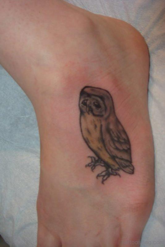 Good Looking Owl Tattoo On Foot