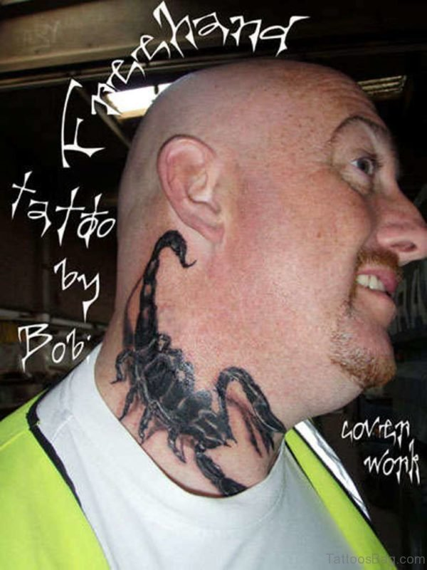 Good Looking Scorpion Tattoo On Neck