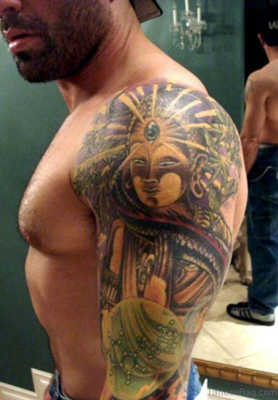 Gorgeous Buddhist Religious Tattoo On Shoulder