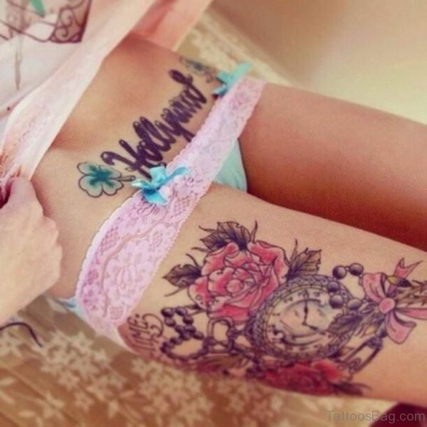 Gorgeous Flower And Clock Tattoo