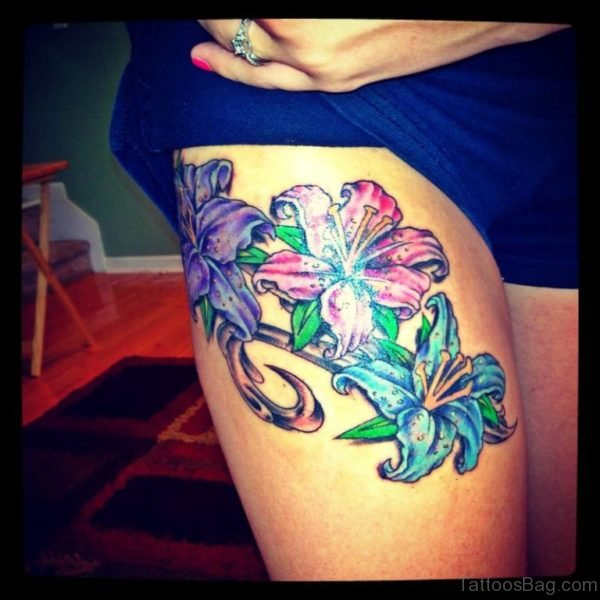 Gorgeous Flower Tattoo On Thigh