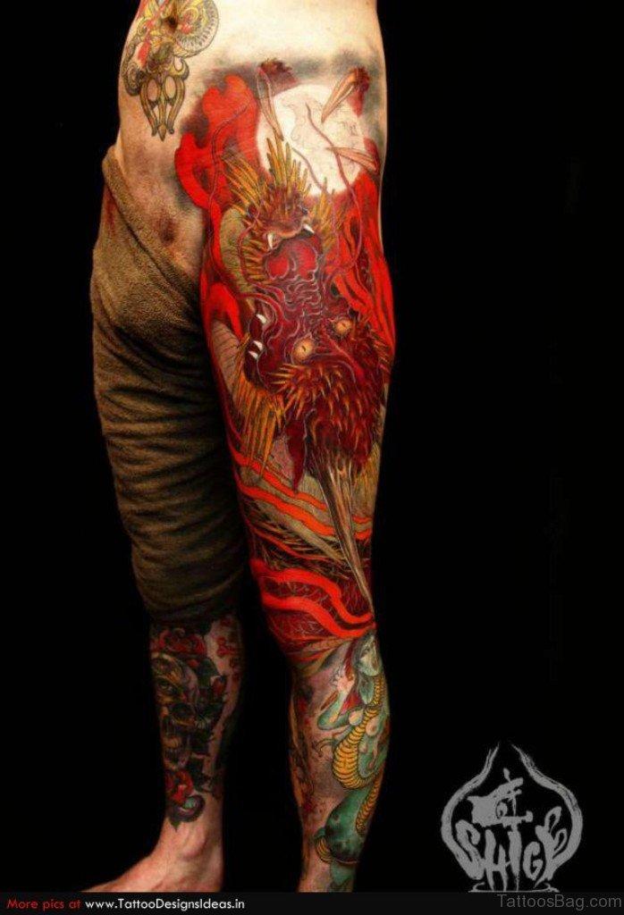 33 Modern Dragon Tattoos For Leg on Japanese Dragon Designs
